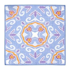 Blue & Purple Cotton & Linen Handkerchief