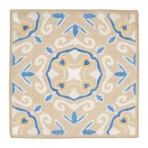 Sand & Blue Cotton & Linen Handkerchief