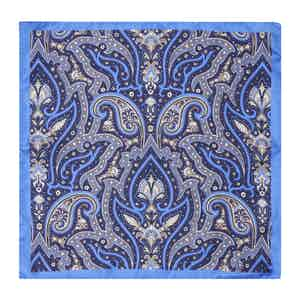 Blue & Grey Paisley Silk Handkerchief