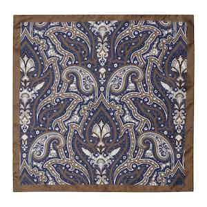 Chocolate & Navy Paisley Silk Handkerchief
