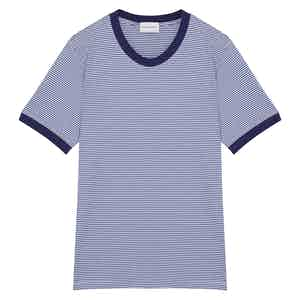 Blue Cotton Horizontal Striped Positano T-shirt