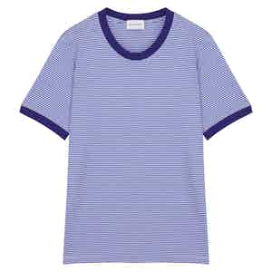 Royal Blue Cotton Horizontal Striped Positano T-shirt