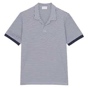 Blue Cotton Horizontal Striped Positano Polo Shirt