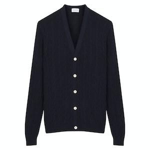 Navy Silk Bourette Cable Knit Cardigan