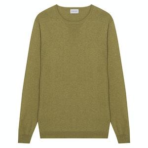 Matte Olive Green Silk Ribbed-Neck Pullover