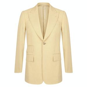 Beige Gabardine Single-Breasted Jacket
