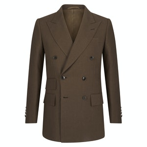 Chocolate Brown Linen Double-Breasted Jacket