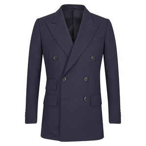 Deep Navy Wool Double-Breasted Jacket