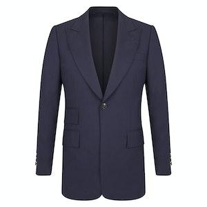 Navy Wool High Twist Single-Breasted Jacket