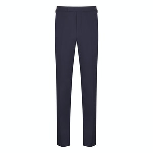 Navy Wool High Twist Contemporary Trousers