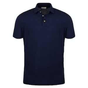 Navy Blue Linen Polo Shirt