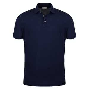 Navy Blue Linen Polo Shirt