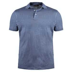Cornflower Blue Linen Polo Shirt