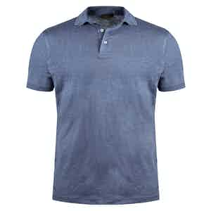 Cornflower Blue Linen Polo Shirt