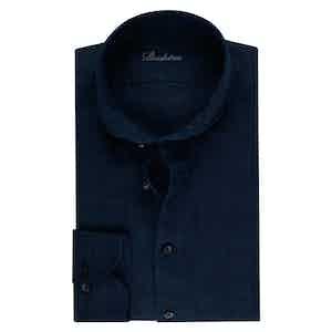 Navy Linen Slimline Shirt