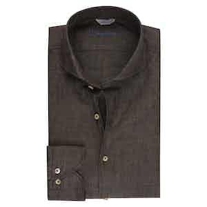 Brown Linen Slimline Shirt