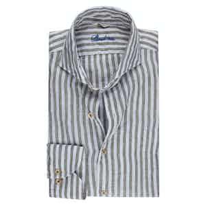Green Linen Striped Slimline Shirt