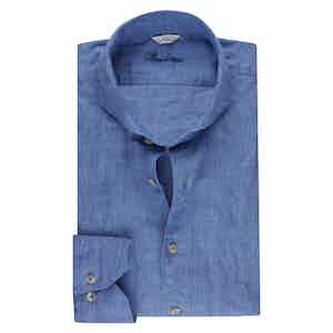 Heaven Blue Linen Slimline Shirt
