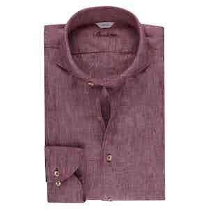 Pink Linen Slimline Shirt
