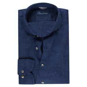 Dark Blue Linen Slimline Shirt