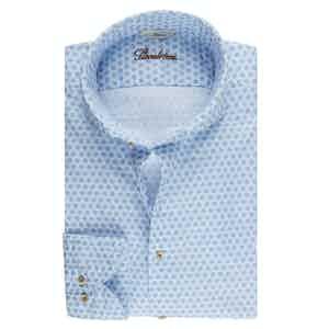 Light Blue Cotton Medallion Print Casual Slimline Oxford Shirt