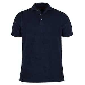 Navy Cotton Terry Pique Shirt
