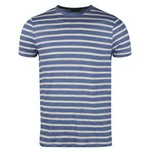 Blue and White Linen Striped T-shirt