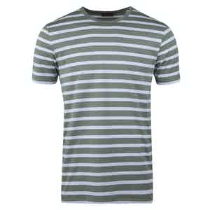 Green and White Cotton Striped T-shirt