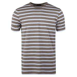 Brown and White Cotton Striped T-shirt