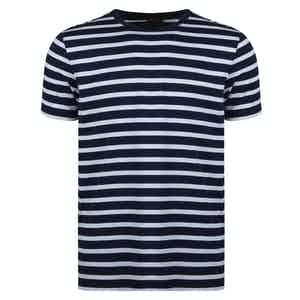 Navy and White Cotton Striped T-shirt