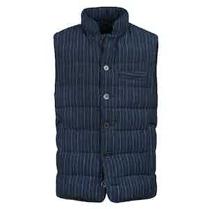Blue Linen Pinstriped Vest