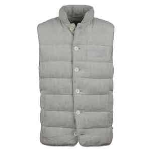 Light Beige Linen Striped Vest