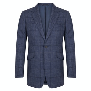 Navy Wool & Linen Glen Check Jacket