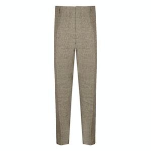 Fawn Linen Glen Check Trousers