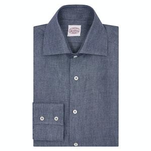 Denim Linen Two-Button Cuff Shirt