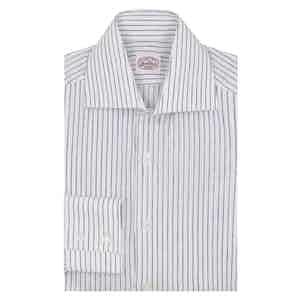 Blue Striped Linen Two-Button Cuff Shirt