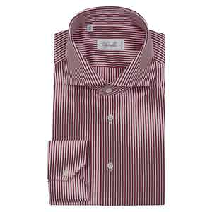 Red and White Cotton Striped Shirt