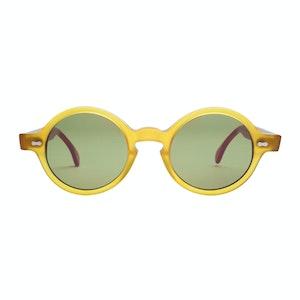 Brown Acetate Oxford Honey Bottle Green Lens Sunglasses