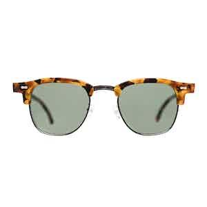 Multicolour Metal and Acetate Tartan Amber Tortoiseshell Bottle Green Lens Sunglasses