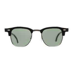 Black Metal and Acetate Tartan Black Bottle Green Lens Sunglasses