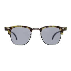 Green Metal and Acetate Tartan Green Tortoiseshell Gradient Grey Lens Sunglasses