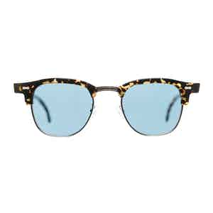 Brown Metal and Acetate Tartan Havana Blue Lens Sunglasses