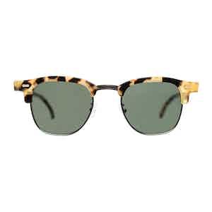 Multicolour Metal and Acetate Tartan Light Tortoiseshell Bottle Green Lens Sunglasses