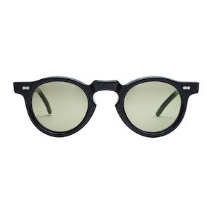 Black Acetate Welt Black Bottle Green Lens Sunglasses