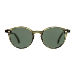 Green Bio-Acetate Cran Eco Green Bottle Green Lens Sunglasses
