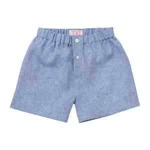 Gesso Blue Linen Boxer Shorts