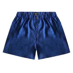 Prussian Blue Linen Boxer Shorts