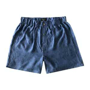 Slate Blue Linen Boxer Shorts