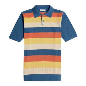 Ensign Blue, Orange and Yellow Short-Sleeve Leroy Polo Shirt