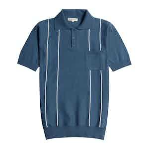 Ensign Blue Organic Cotton Short-Sleeve Alfaro Polo Shirt